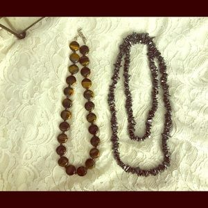 Natural stone necklaces, Tiger's Eye & Hematite